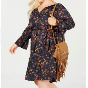 Lucky Brand Boho Plus 2X Dress Peasant Bell Sleeve